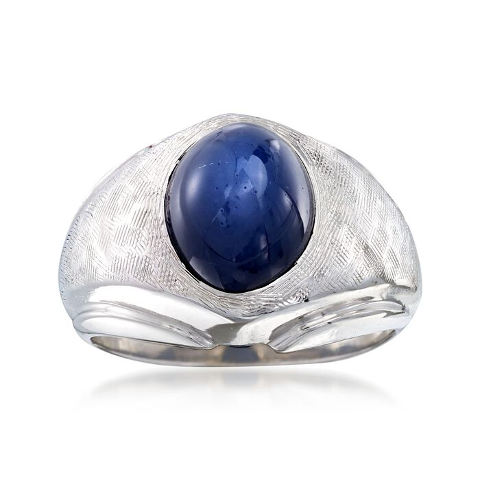 C. 1970 Vintage 4.90 Carat Synthetic Sapphire Dome Ring in 14kt White Gold. Size 6.5, , default