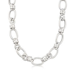 Italian Sterling Silver Oval and Circle Link Necklace, , default