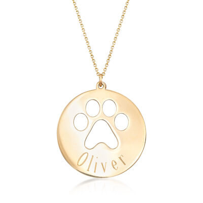 14kt Yellow Gold Personalized Paw Print Necklace, , default