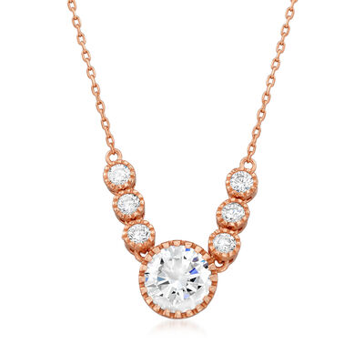 2.50 ct. t.w. CZ Necklace in 18kt Rose Gold Over Sterling