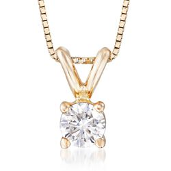 ".20 Carat Diamond Solitaire Necklace in 14kt Yellow Gold. 18"", , default"