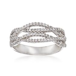 .36 ct. t.w. Diamond Crisscross Ring in 14kt White Gold. Size 7, , default