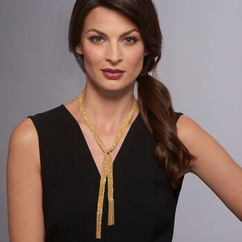 """Italian 18kt Gold Over Sterling Silver Mesh Tie Necklace. 32"""""""