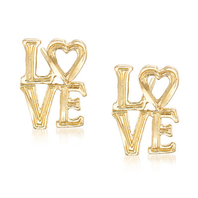 """Love"" Stud Earrings in 14kt Yellow Gold, , default"