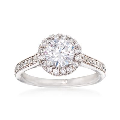 Gabriel Designs .47 ct. t.w. Diamond Halo Engagement Ring Setting in 14kt White Gold