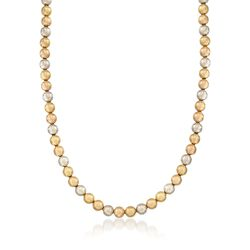 "C. 1960 Vintage 18kt Tri-Colored Gold Bead Necklace. 16.5"", , default"