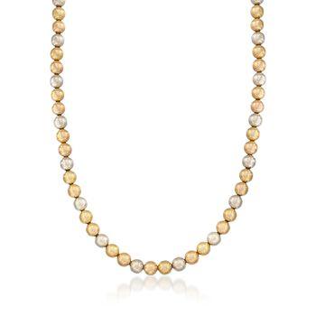 "C. 1960 Vintage 18kt Tri-Colored Gold Bead Necklace. 16.5"", , default"