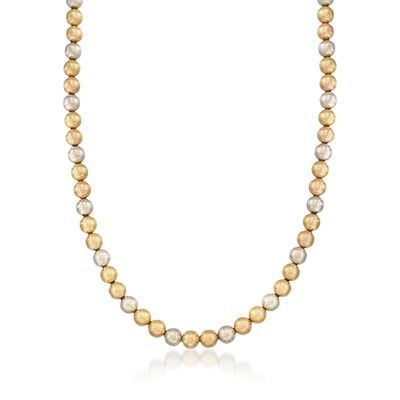 C. 1960 Vintage 18kt Tri-Colored Gold Bead Necklace, , default