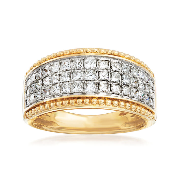 1.00 ct. t.w. Diamond Beaded-Edge Ring in 14kt Yellow Gold