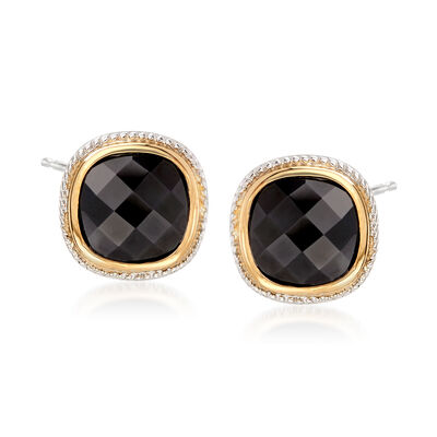 10mm Black Onyx Earrings in Sterling Silver and 14kt Yellow Gold, , default