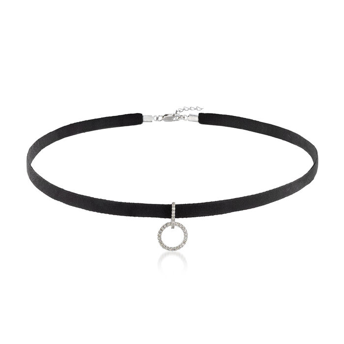 .12 ct. t.w. Diamond Open Circle and Black Velvet Choker Necklace in Sterling Silver