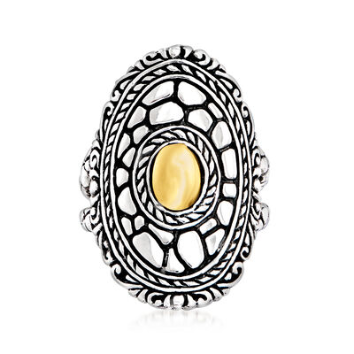 Sterling Silver and 14kt Yellow Gold Bali-Style Ring