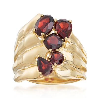 2.80 ct. t.w. Garnet Stacked Cluster Ring in 18kt Gold Over Sterling, , default
