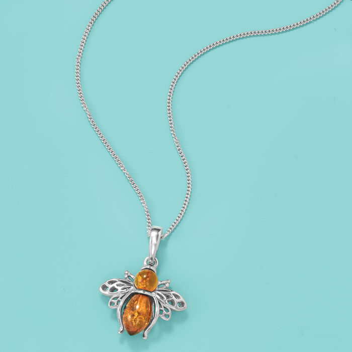 Amber Bumblebee Pendant Necklace in Sterling Silver