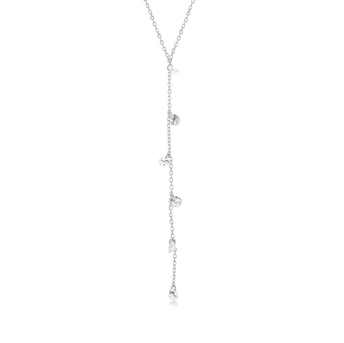 "1.75 ct. t.w. CZ Y-Necklace in Sterling Silver. 15.75"", , default"