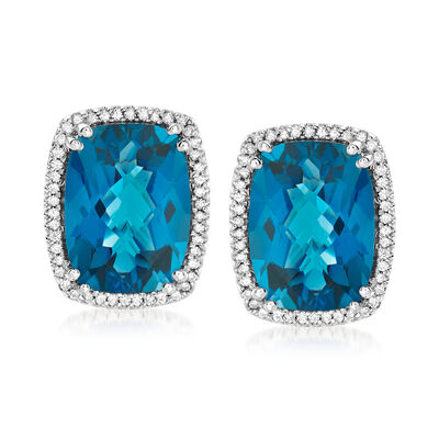20.70 ct. t.w. London Blue Topaz and .60 ct. t.w. Diamond Earrings in 14kt White Gold