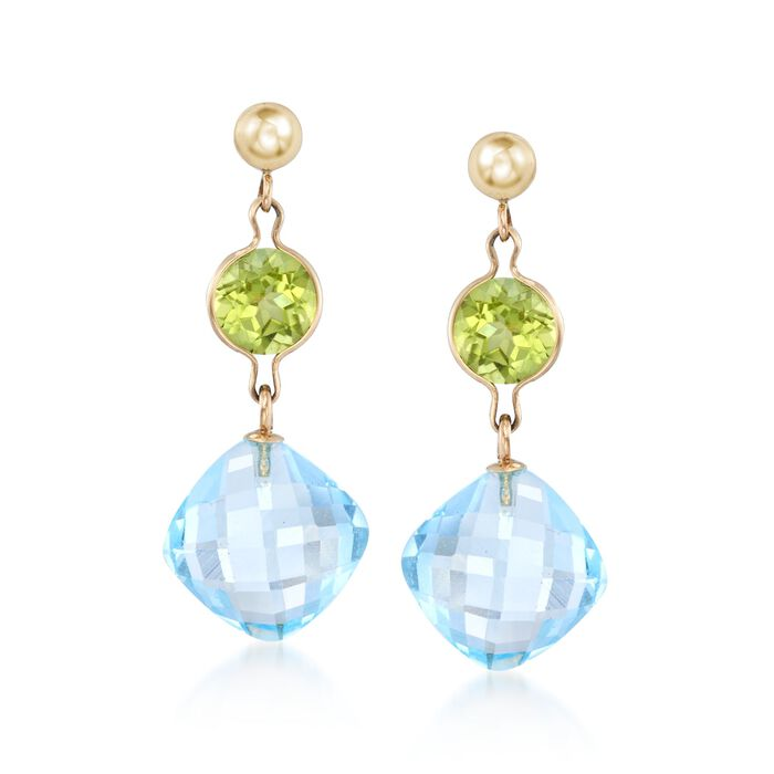 11.00 ct. t.w. Peridot and Blue Topaz Drop Earrings in 14kt Yellow Gold