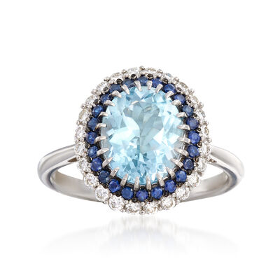 2.40 Carat Aquamarine, .30 ct. t.w. Sapphire and .36 ct. t.w. Diamond Ring in 14kt White Gold, , default