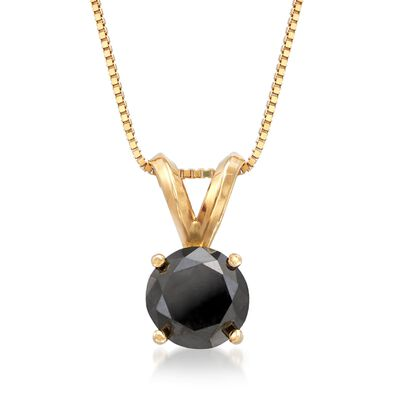 1.00 Carat Black Diamond Solitaire Necklace in 14kt Yellow Gold, , default