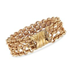 "Italian 18kt Yellow Gold Three-Row Rolo Bracelet. 8"", , default"