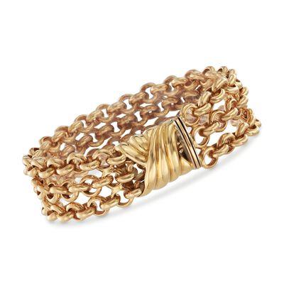 Italian 18kt Yellow Gold Three-Row Rolo Bracelet, , default