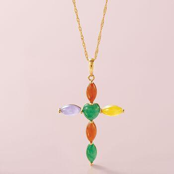 Multicolored Jade Cross Pendant in 14kt Yellow Gold, , default