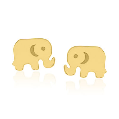 14kt Yellow Gold Baby Elephant Stud Earrings