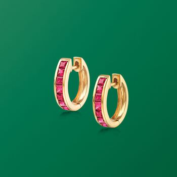 ".80 ct. t.w. Square-Cut Ruby Huggie Hoop Earrings in 14kt Yellow Gold. 3/8"""