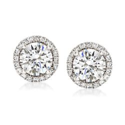 1.75 ct. t.w. Diamond Halo Stud Earrings in 14kt White Gold, , default