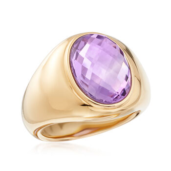 6.00 Carat Amethyst Ring in 14kt Yellow Gold. Size 7, , default
