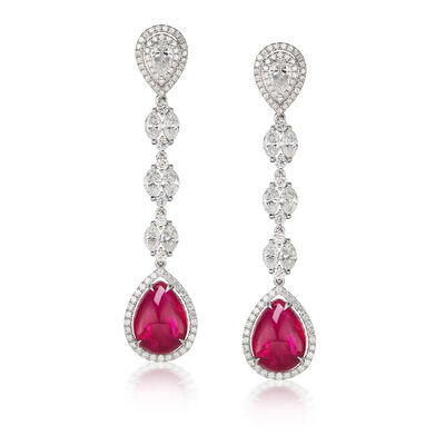 18.40 ct. t.w. Ruby and 5.44 ct. t.w. Diamond Drop Earrings in 18kt White Gold