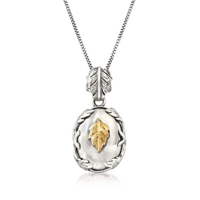 Sterling Silver with 14kt Yellow Gold Leaf Necklace