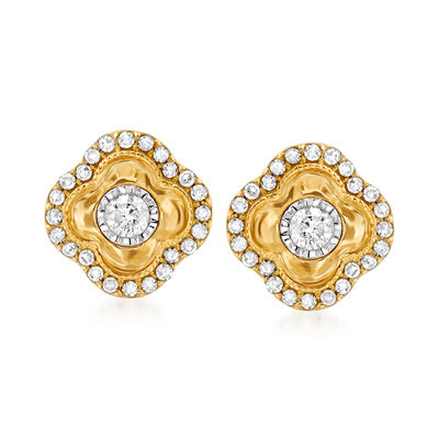 .30 ct. t.w. Diamond Clover Earrings in 14kt Yellow Gold
