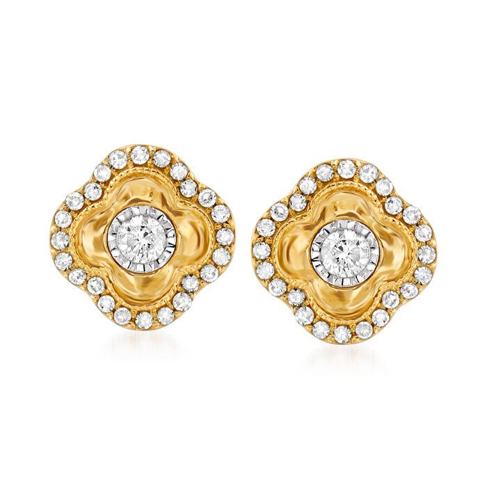 .30 ct. t.w. Diamond Clover Earrings in 14kt Yellow Gold