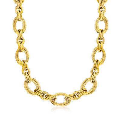 Gold Necklaces. Image Featuring Italian 18kt Yellow Gold Link Necklace 929354