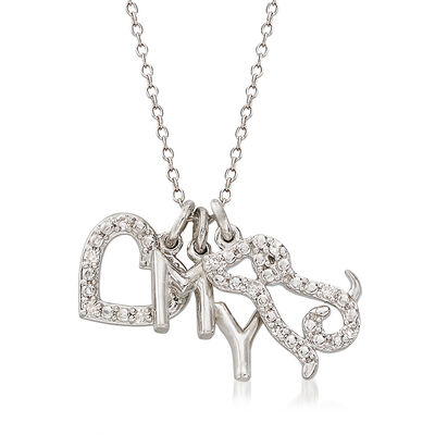 .10 ct. t.w. Diamond Love My Dog Pendant Necklace in Sterling Silver