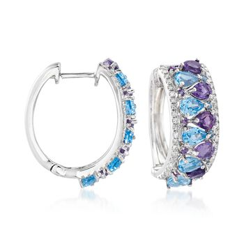 """3.96 ct. t.w. Multi-Stone and .36 ct. t.w. Diamond Hoop Earrings in 14kt White Gold. 3/4""""., , default"""