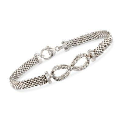 Italian .35 ct. t.w. CZ Infinity Symbol Mesh Bracelet in Sterling Silver, , default