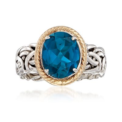 4.10 Carat London Blue Topaz Ring in 14kt Yellow Gold and Sterling Silver