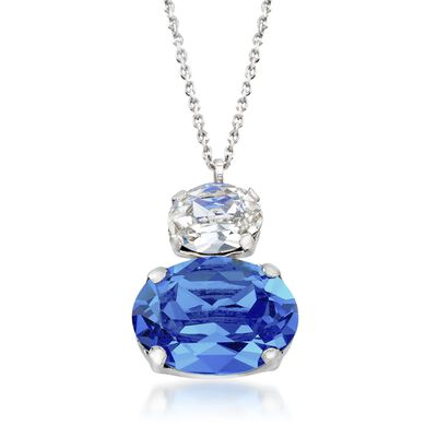 Italian Sterling Silver Drop Necklace with Blue and Clear Swarovski Crystals, , default