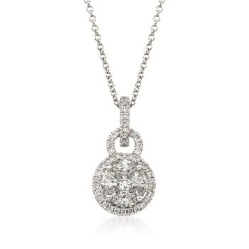 "Simon G. .54 ct. t.w. Diamond Pendant Necklace in 18kt White Gold. 18"", , default"