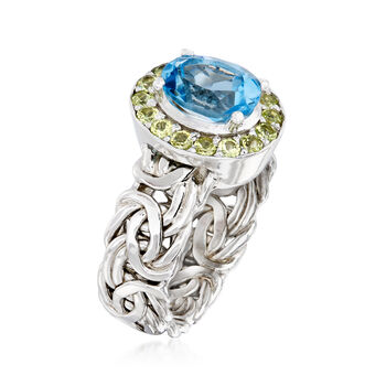 2.20 Carat Blue Topaz and .50 ct. t.w. Peridot Byzantine Ring in Sterling Silver. Size 7