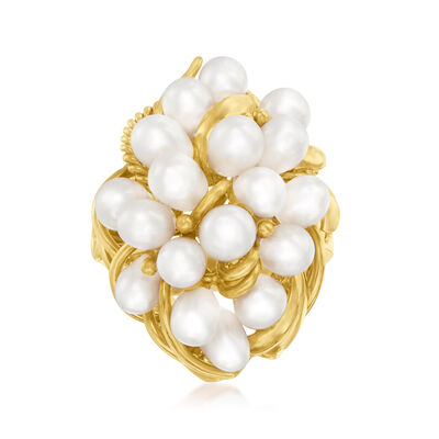 C. 1980 Vintage 4-6mm Cultured Pearl Cluster Ring in 14kt Yellow Gold