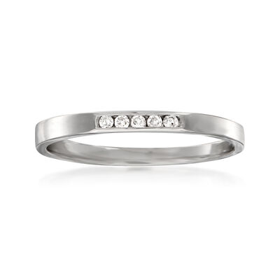 C. 1990 Vintage Wedding Band with Diamond Accents in 14kt White Gold, , default