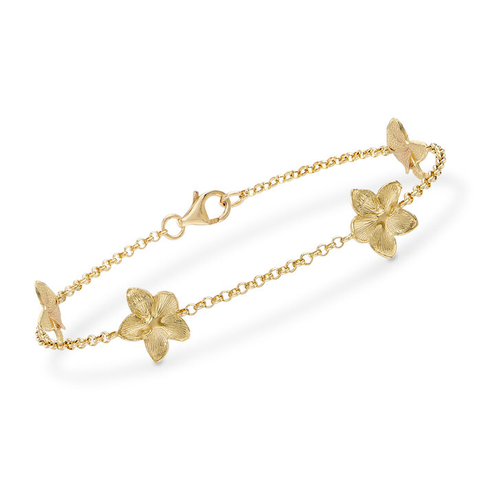 """Floral Rolo Bracelet in 14kt Yellow Gold. 8"""""""
