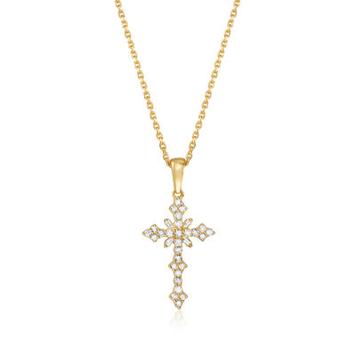 .25 ct. t.w. Diamond Cross Pendant Necklace in 18kt Gold Over Sterling