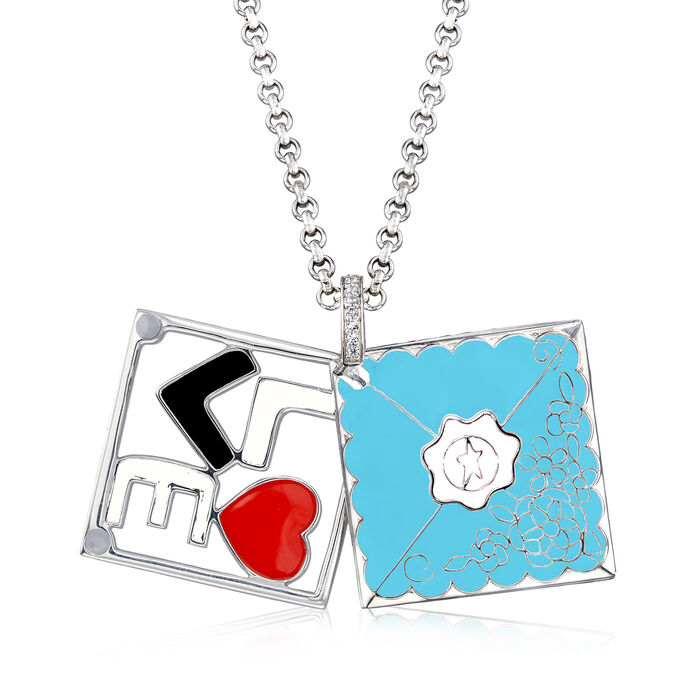 """Belle Etoile """"Love Letter"""" Blue Enamel Pendant with CZ Accents in Sterling Silver"""