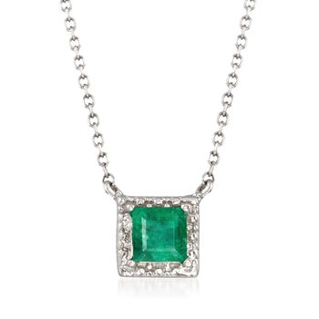 """.40 Carat Square-Cut Emerald Necklace in 14kt White Gold. 16"""", , default"""