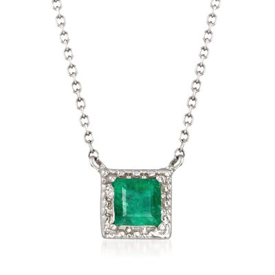 .40 Carat Square-Cut Emerald Necklace in 14kt White Gold, , default