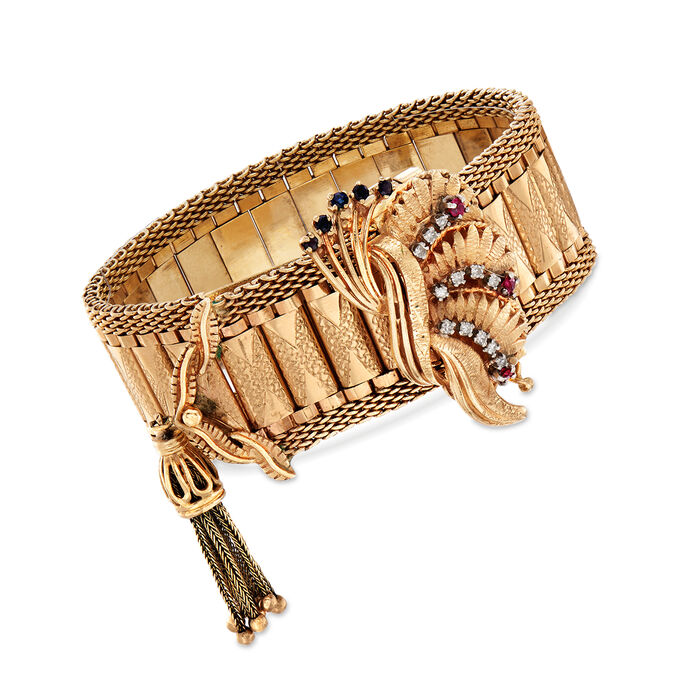 C. 1950 Vintage Geneva Women's 14kt Yellow Gold and .60 ct. Tw. Multi-Stone Watch Bracelet with .25 ct. t.w. Diamonds. Size 7.5